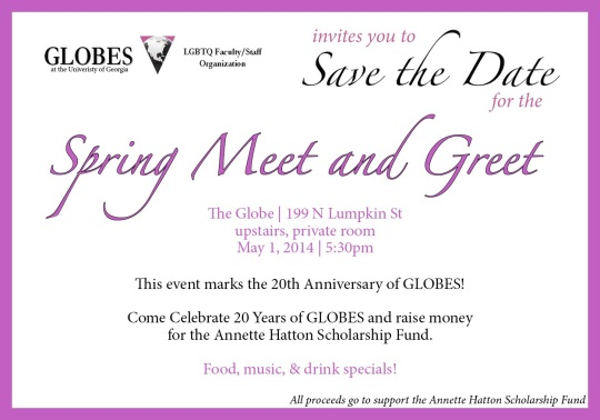 Celebrate TWENTY years of GLOBES at The GLOBE, May 1st!